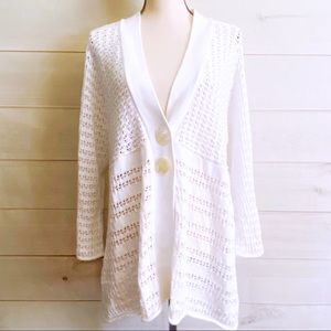 NWT Style & Co. White Crochet Oversize Cardigan XL